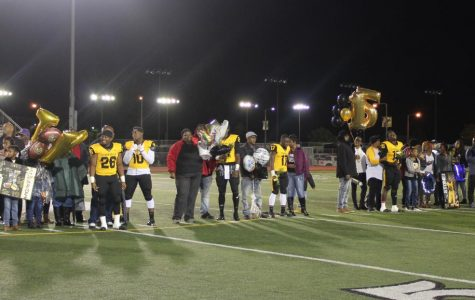 Seniors honored during football game