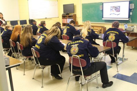 Students from the surrounding areas take qualifier test at the FFA Competition.