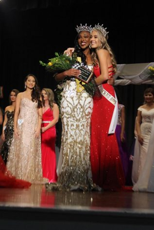 Former Miss Yellow Jacket, Gracee Burkley embraces Jasmine Baker Miss Yellow Jacket 2020, after being crowned.