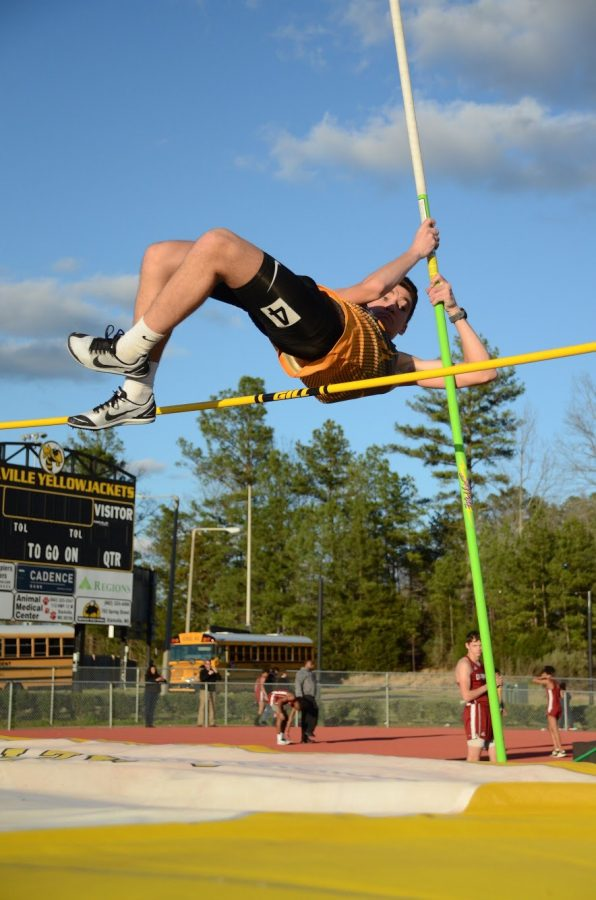 Christopher Bell pole vaults at the SHS Opening Track Meet. He earned a fourth-place finish.