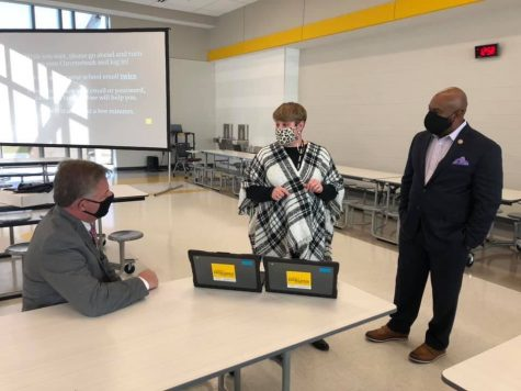 Dr. Leanne Long speaks with state representatives Cheikh Taylor and Rob Roberson about the Chromebooks and what they will offer to the district.